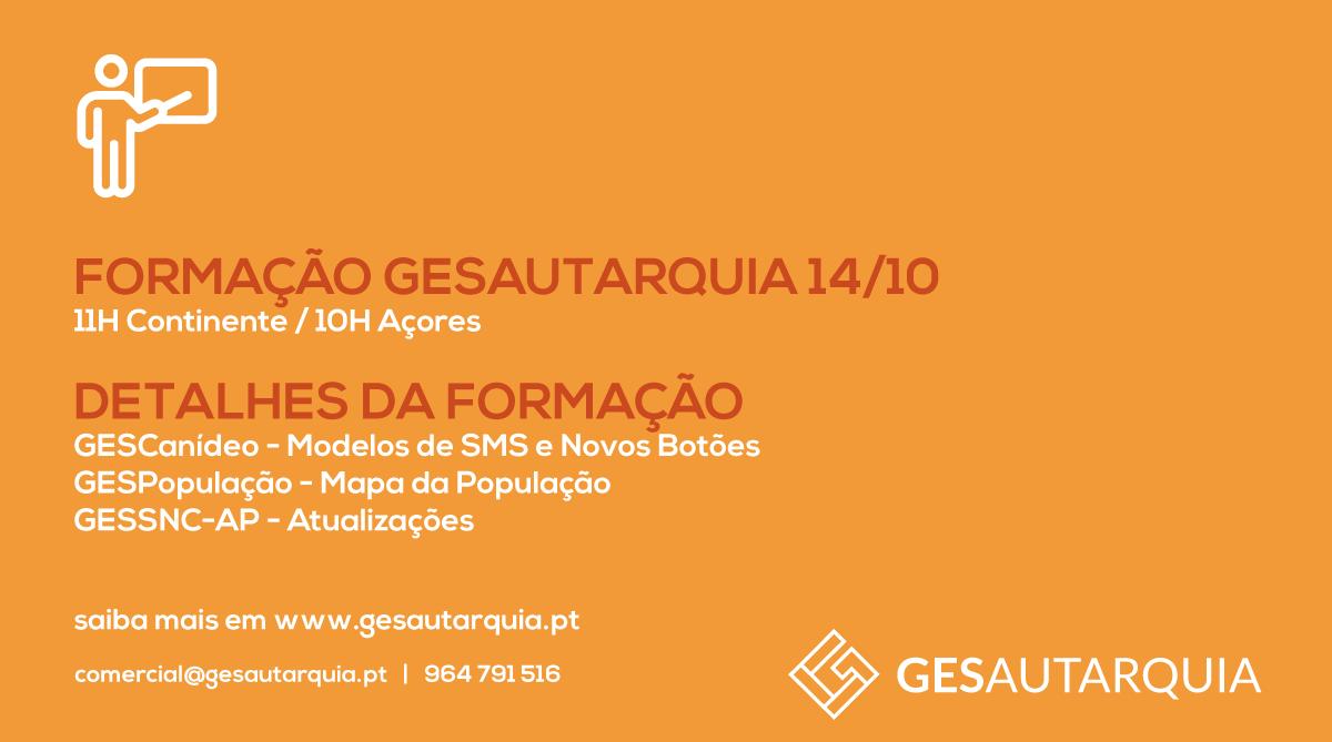 Formação GESAutarquia 14/10 Continente - 11H / Açores - 10H