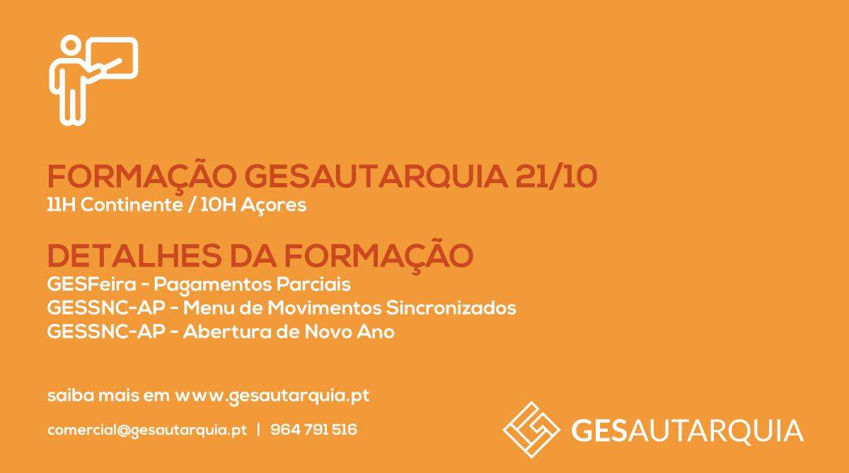 Formação GESAutarquia 21/10 Continente - 11H / Açores - 10H