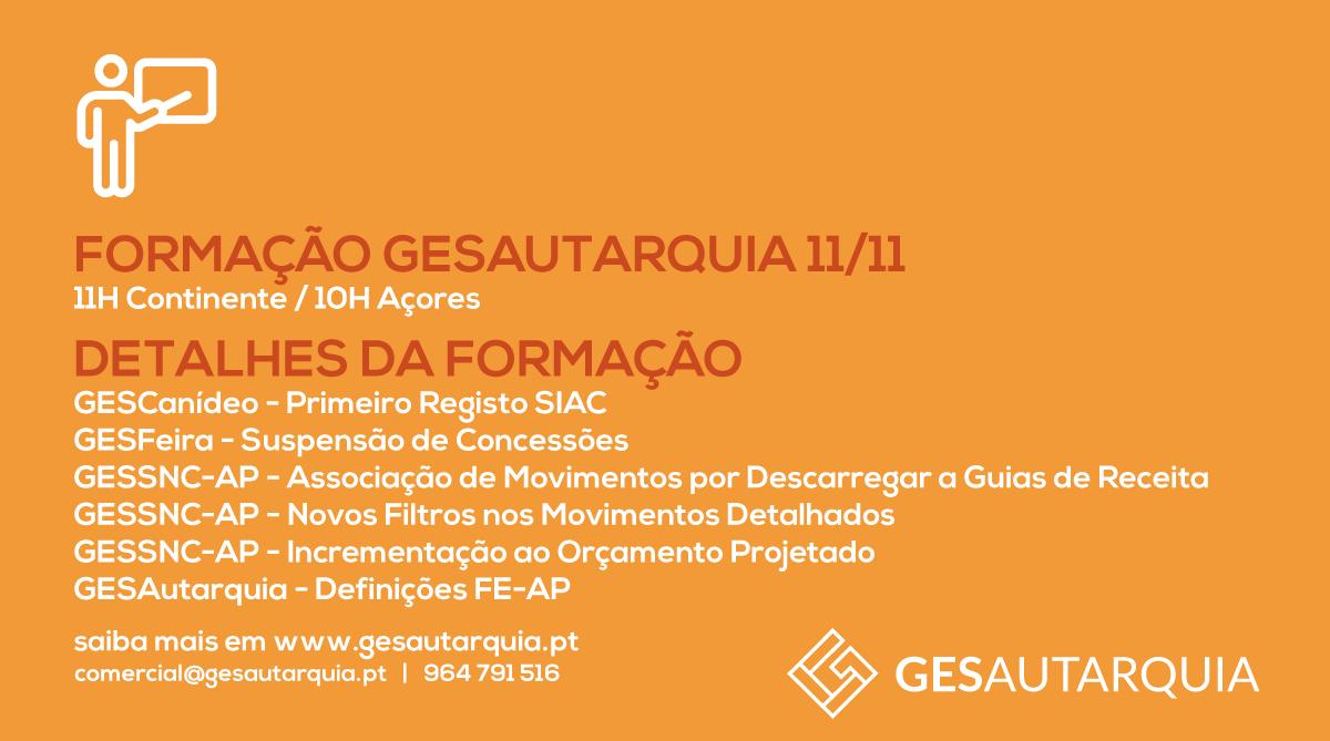 Formação GESAutarquia 11/11 Continente - 11H / Açores - 10H