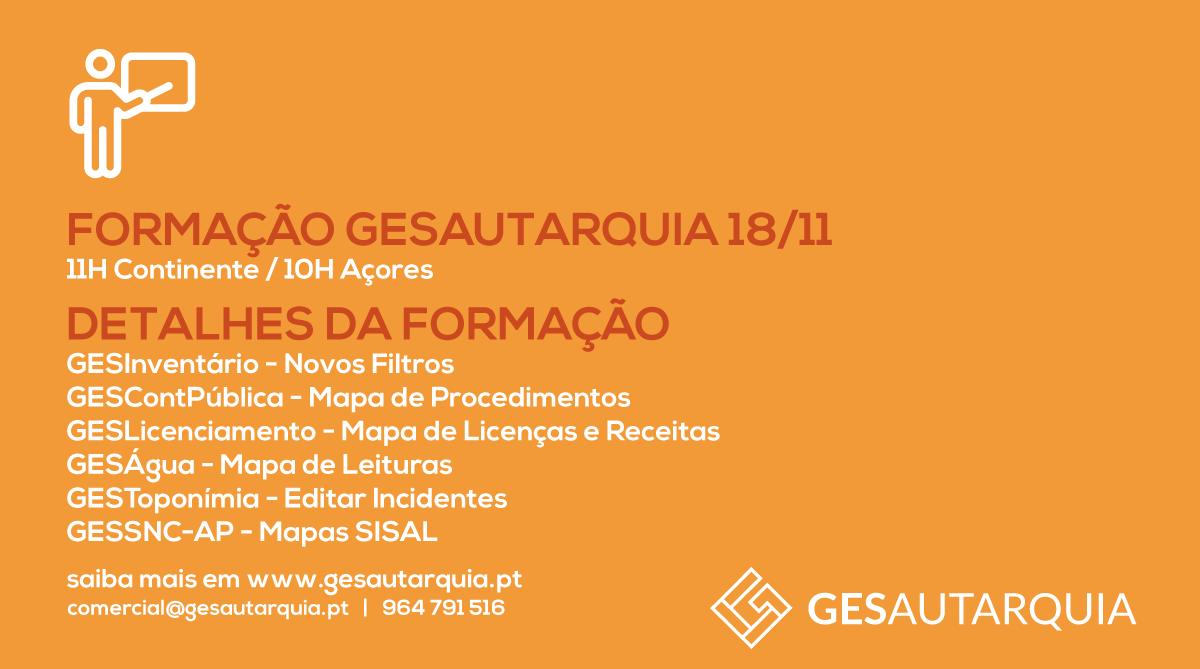 Formação GESAutarquia 18/11 Continente - 11H / Açores - 10H