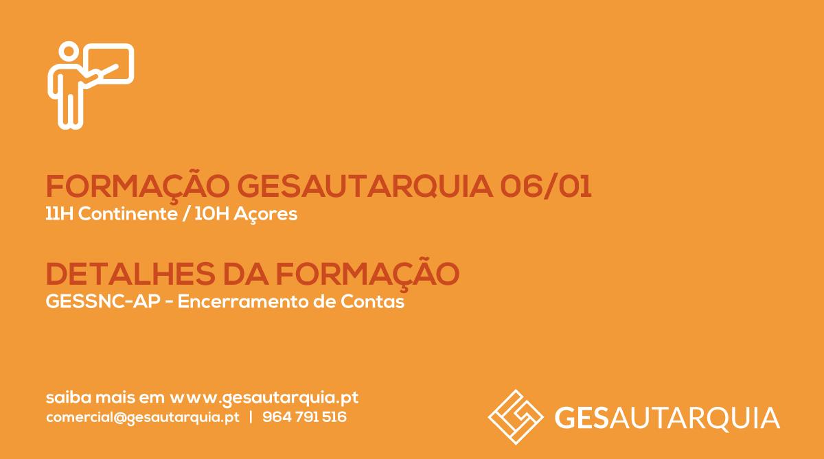 Formação GESAutarquia 06/01 Continente - 11H / Açores - 10H