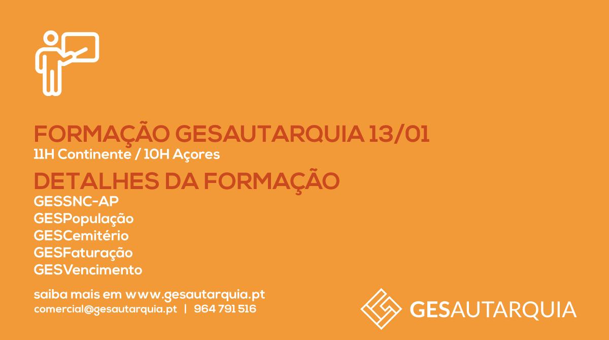 Formação GESAutarquia 13/01 Continente - 11H / Açores - 10H