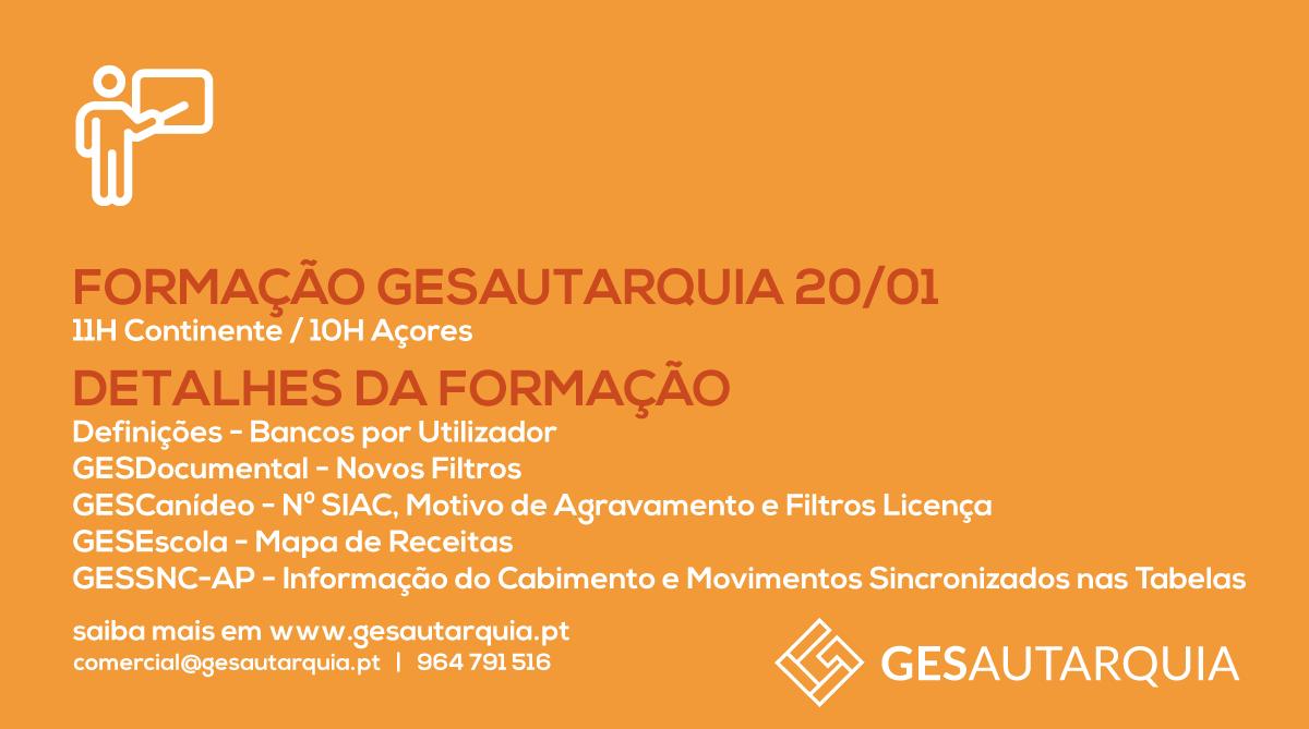 Formação GESAutarquia 20/01 Continente - 11H / Açores - 10H