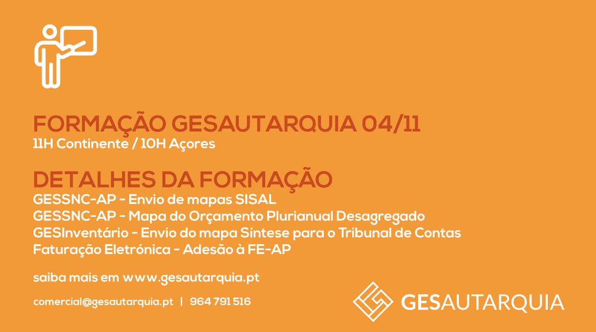 Formação GESAutarquia 4/11 Continente - 11H / Açores - 10H
